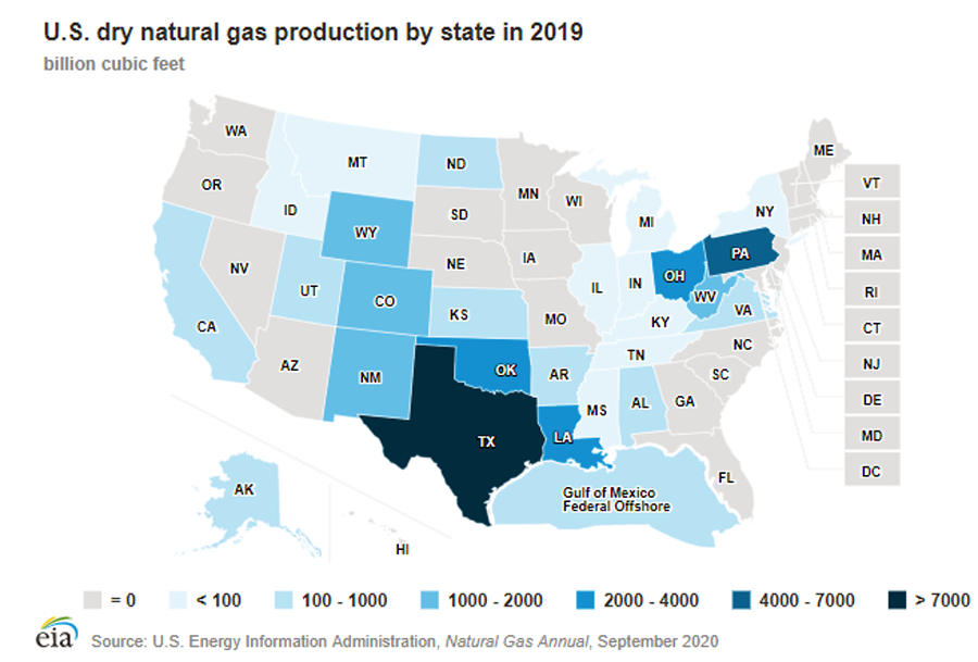 Map of U.S. dry natural gas production by state in 2019